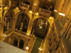Main stairway above the opera house lobby area